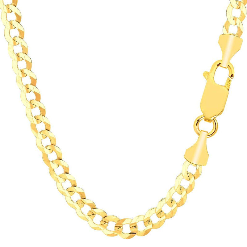 "CERTIFIED TheDiamondDeal Mens Solid 14K Yellow Gold Or White Gold 5.7mm Shiny Cuban Comfort Curb Chain Necklace For men for Pendants Or Bracelet with Lobster-Claw Clasp (8.5"", 20"", 22"", 24"", 26"" or 30 inch)"