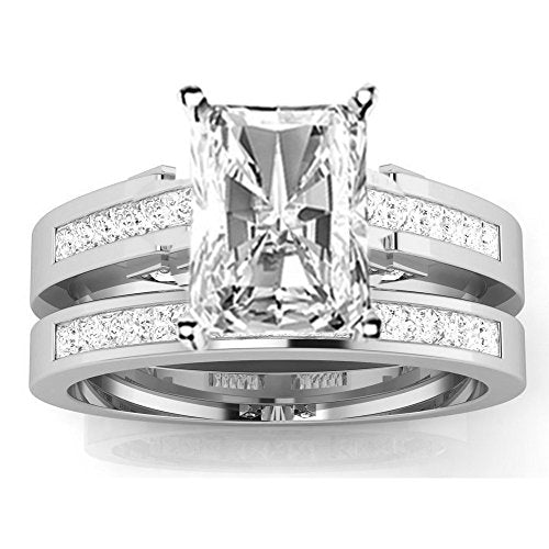 bik 1.5 Ctw 14K White Gold Channel Princess Cut GIA Certified Diamond Engagement Ring Bridal Set Radiant Shape (1 Ct E Color SI1 Clarity Center Stone)