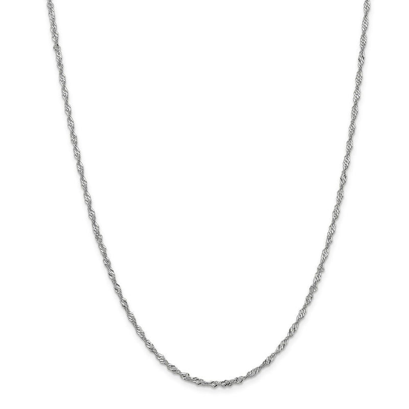CERTIFIED  14k White Gold 2.0mm Singapore Chain