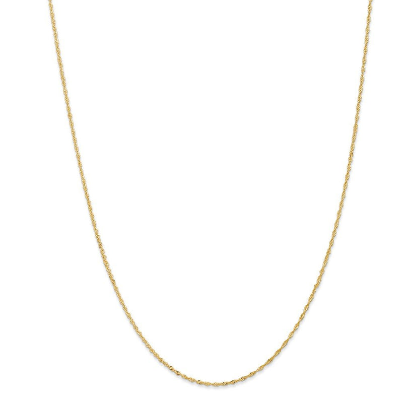 CERTIFIED  14K Yellow Gold 1.10mm Singapore Chain