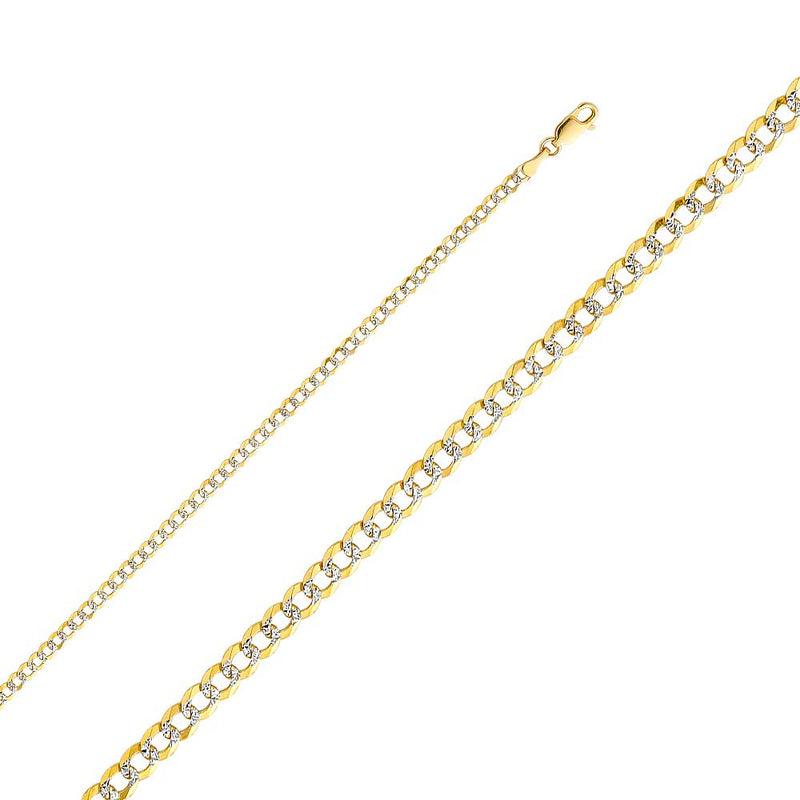 CERTIFIED Wellingsale 14k Two Tone Yellow and White Gold SOLID 3.2mm Polished Cuban Concaved Curb White Pave Diamond Cut Chain Necklace with Lobster Claw Clasp