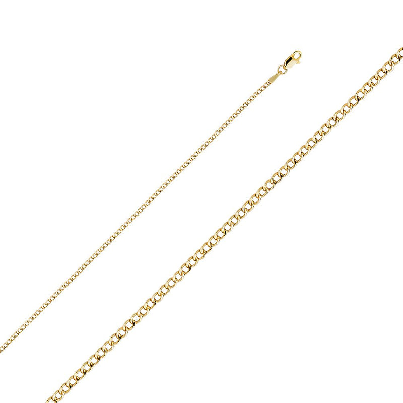 CERTIFIED Wellingsale 14k Yellow Gold 2mm Polished HOLLOW Cuban Concaved Curb Chain Necklace