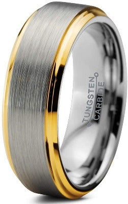 CERTIFIED 6mm Tungsten Wedding Band Men Women Comfort Fit 18k Yellow Rose Gold Grey
