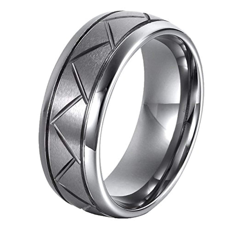 CERTIFIED 8mm Tungsten Carbide Ring Wedding Bands With Matte Brushed