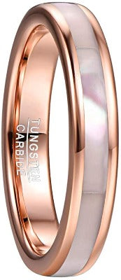 4mm Rose Gold Tungsten Carbide Ring with Mother of Pearl Shell