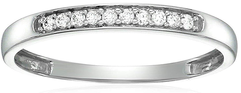 CERTIFIED 1/10 cttw Petite Diamond Wedding Band in 14K Gold Prong Set