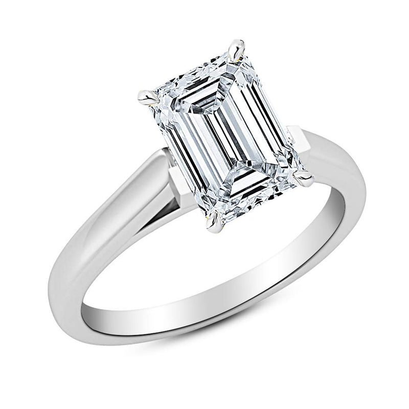 reamra 1 Ct GIA Certified Emerald Cut Cathedral Solitaire Diamond Engagement Ring 14K White Gold (I Color VS1 Clarity)