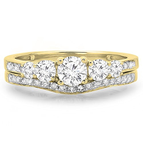 CERTIFIED   1.00 Carat (ctw) 14K Gold Round Cut Diamond 5 Stone Ladies Bridal Engagement Ring Matching Band Set 1 CT