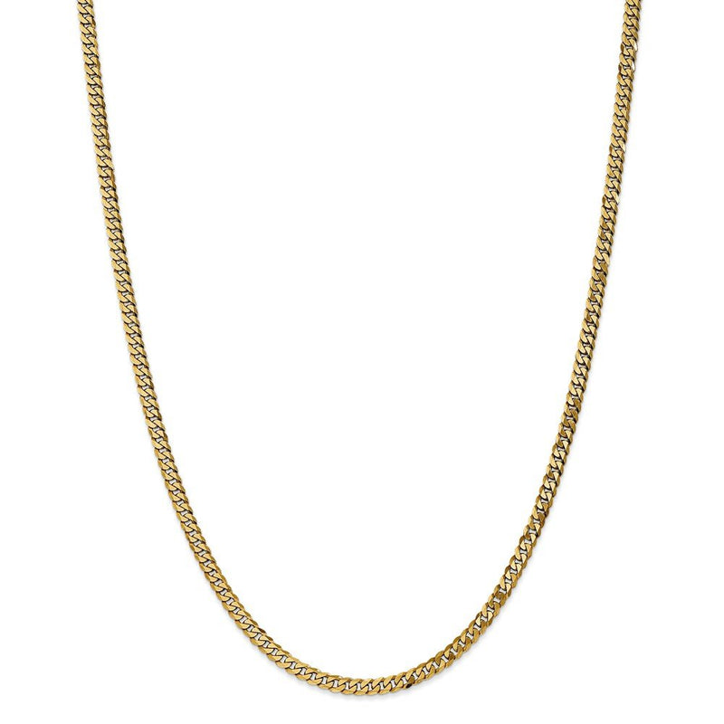 CERTIFIED 14K Yellow Gold 3.2mm Beveled Curb Chain Necklace Multiple Sizes
