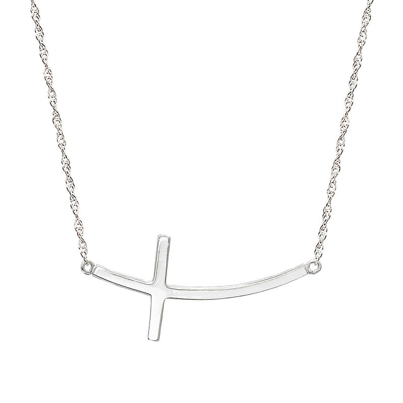 Pyramid Jewelry 10k White Gold Horizontal Curved Cross Necklace
