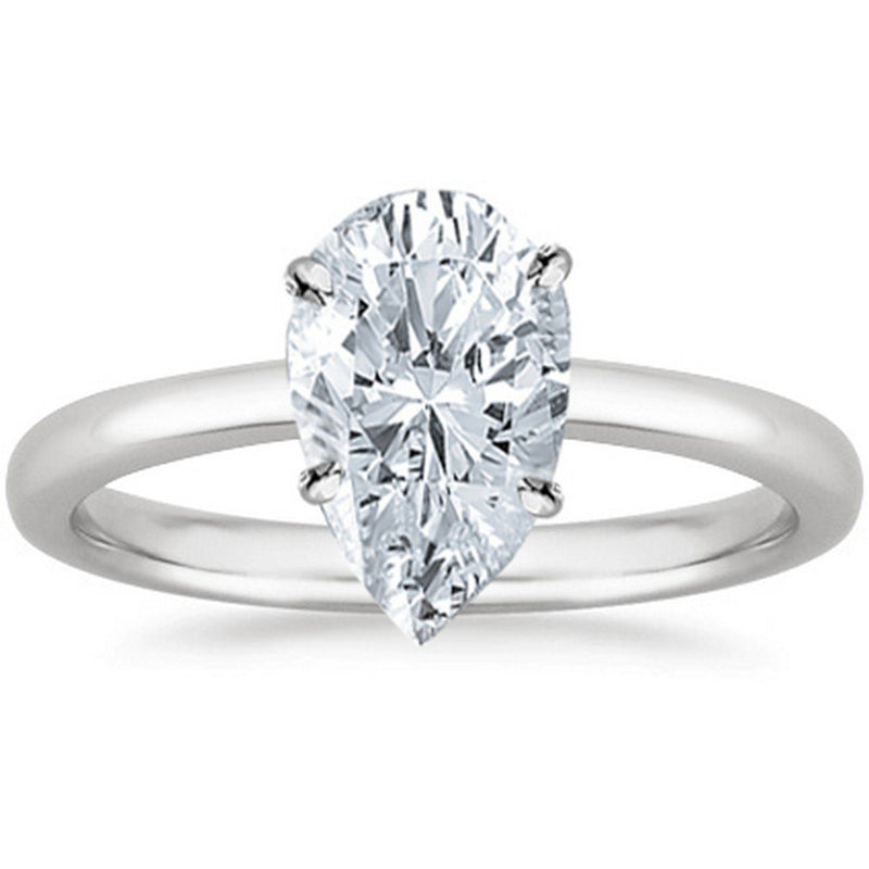 reamra 0.46 Ct GIA Certified Pear Cut Solitaire Diamond Engagement Ring 14K White Gold (H Color VS1 Clarity)