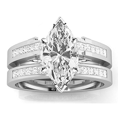bik 1.12 Ctw 14K White Gold Channel Princess Cut GIA Certified Diamond Engagement Ring Bridal Set Marquise Shape (0.62 Ct D Color VS1 Clarity Center Stone)