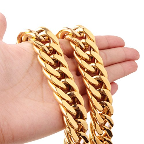 "FANS JEWELRY Strong Men Stainless Steel Cuban Curb Link Chain Necklace Bracelet 21mm Wide,7""-40"""