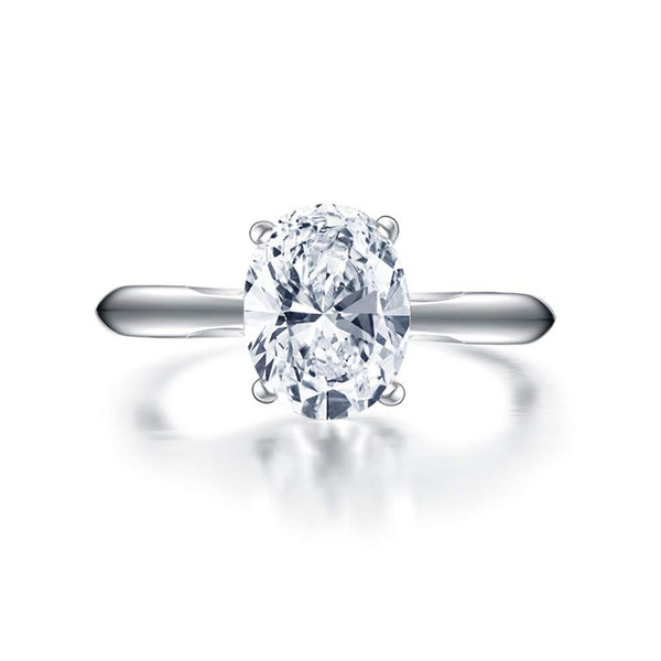 CERTIFIED 2 Carats Sterling Silver Cubic Zirconia  Solitaire Wedding Engagement Ring