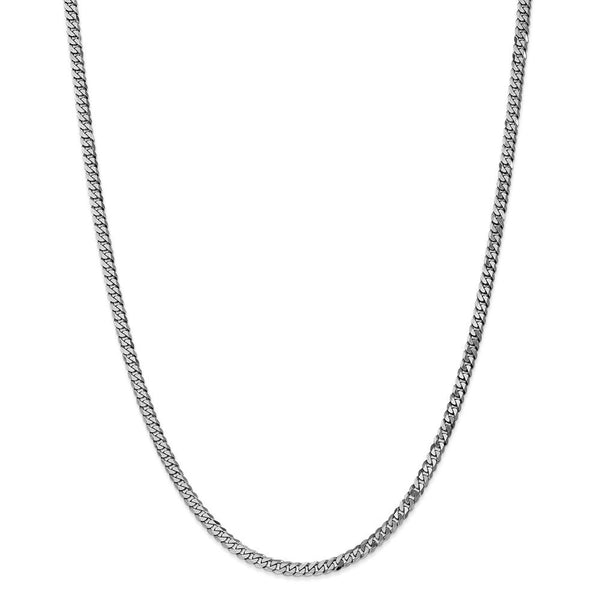 CERTIFIED  14k White Gold 2.9mm Beveled Curb Chain