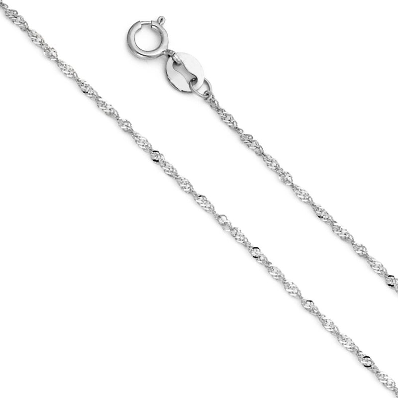 CERTIFIED Wellingsale 14k White Gold SOLID 0.9mm Polished Singapore Chain Necklace with Spring Ring Clasp