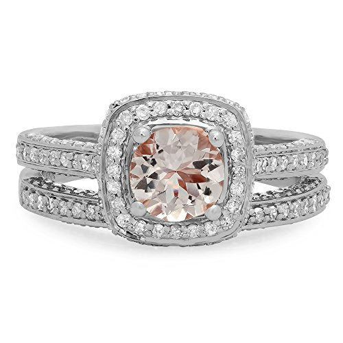 CERTIFIED   14K Gold Round Cut Morganite & White Diamond Ladies Split Shank Halo Engagement Ring Set