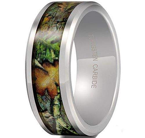 CERTIFIED 8mm Tungsten Carbide Leaf Green Pattern Camouflage Hunting Camo Ring.