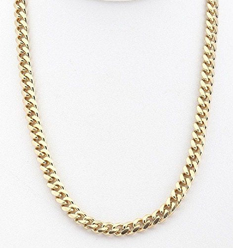 CERTIFIED Doublebeez Jewelry Men's Yellow Gold Tone 6mm Cuban Curb Chain Link Necklace