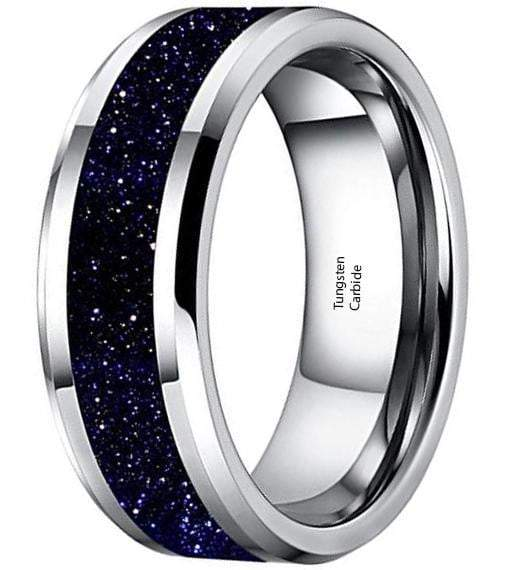 CERTIFIED 8mm Mens White Tungsten Carbide Ring Purple Goldstone Inlay Sparkling