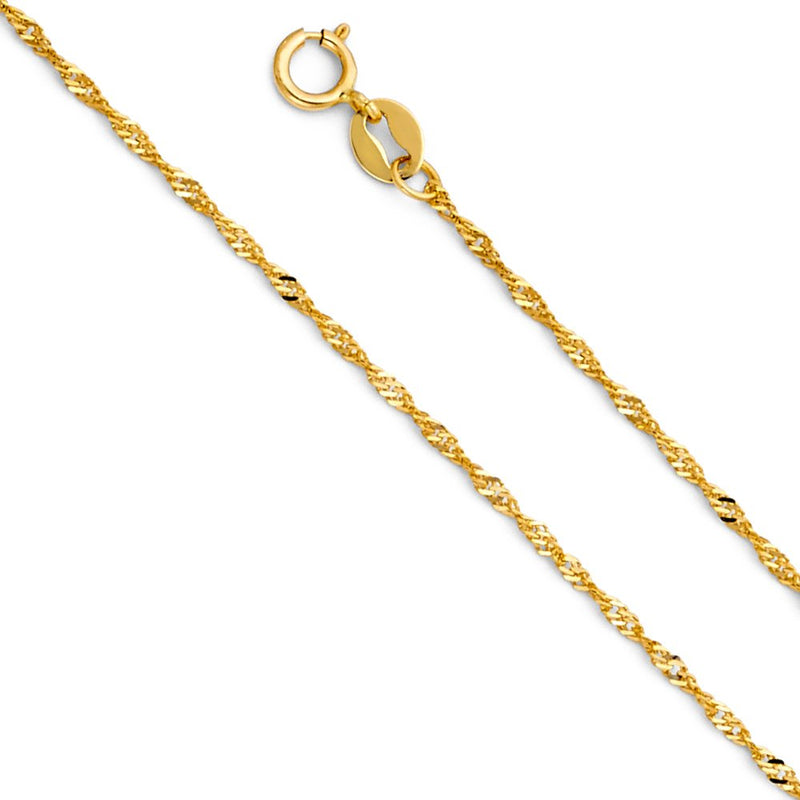 CERTIFIED  14K Yellow Gold Singapore Chain Necklace