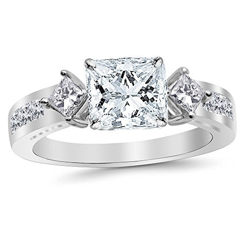 1.5 Carat 14K White Gold Channel Set Past Present Future 3 Stone Princess GIA Certified Princess Cut Diamond Engagement Ring (0.75 Ct J Color VVS2 Clarity Center Stone)