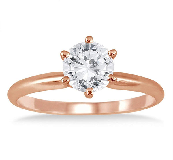 AGS Certified 1 Carat Diamond Solitaire Ring in 14K Rose Gold (J-K Color, I2-I3 Clarity)
