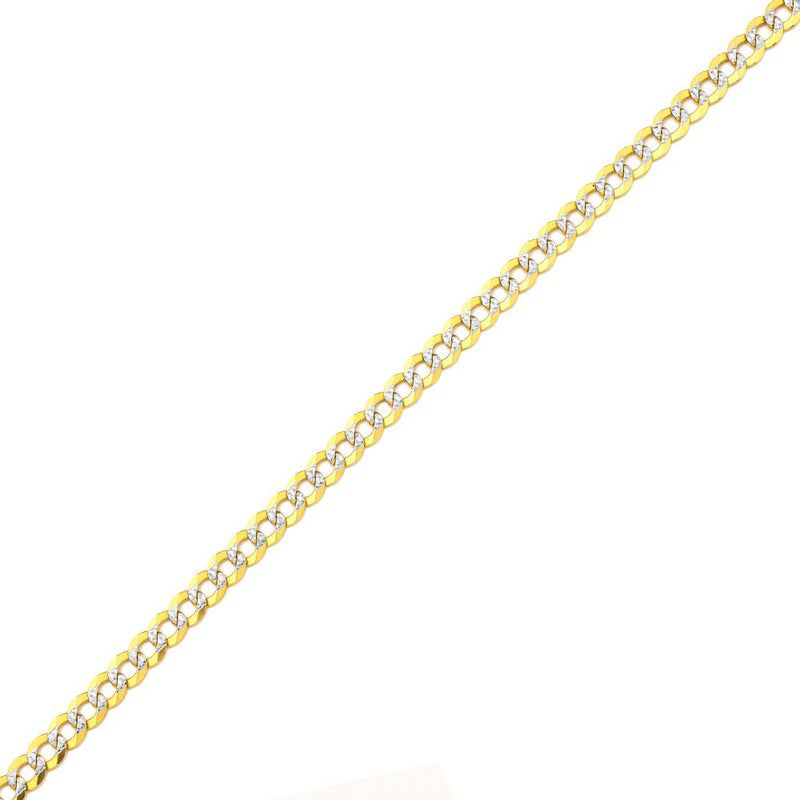 CERTIFIED 10K Gold Pave Two-Tone Curb Chain Necklace/White Gold Pave Diamond Cut
