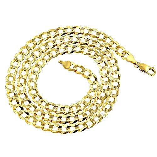 CERTIFIED 7mm 14k Gold Solid Cuban Concave Curb Chain Necklace