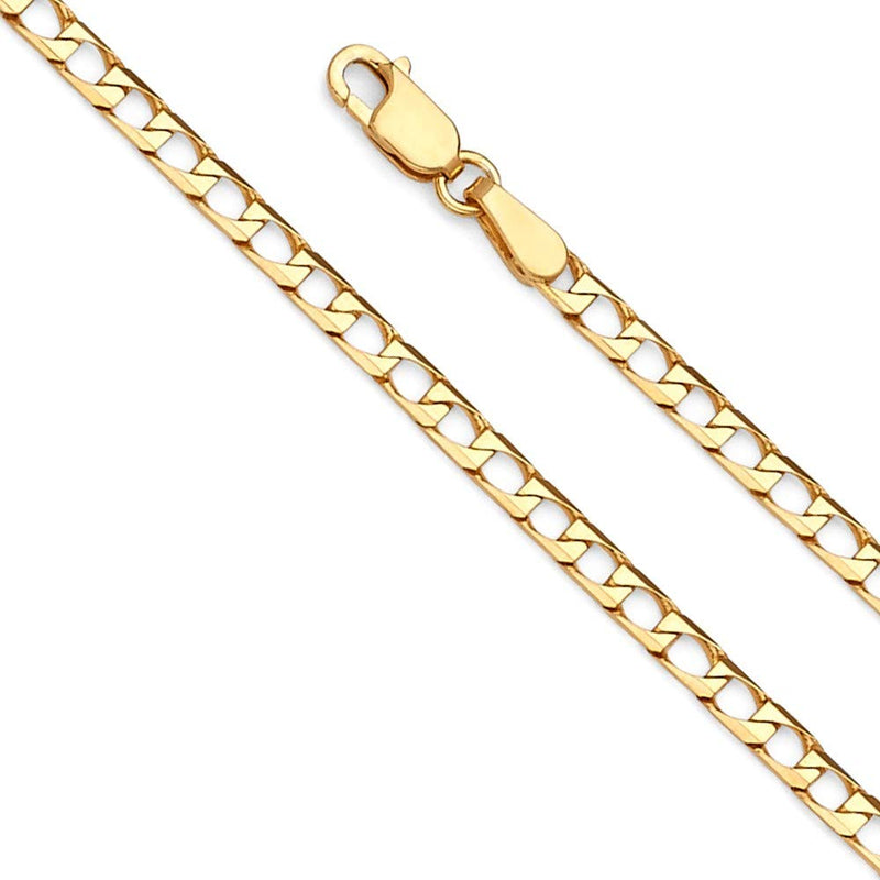 reamra CERTIFIED FB Jewels 14K Yellow Gold Square Curb Chain Necklace With Lobster Claw Clasp