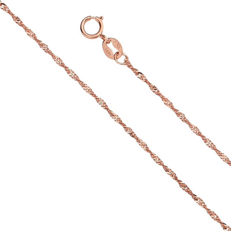 CERTIFIED Wellingsale 14k Rose/Pink Gold 1mm Singapore Chain Necklace with Spring Ring Clasp