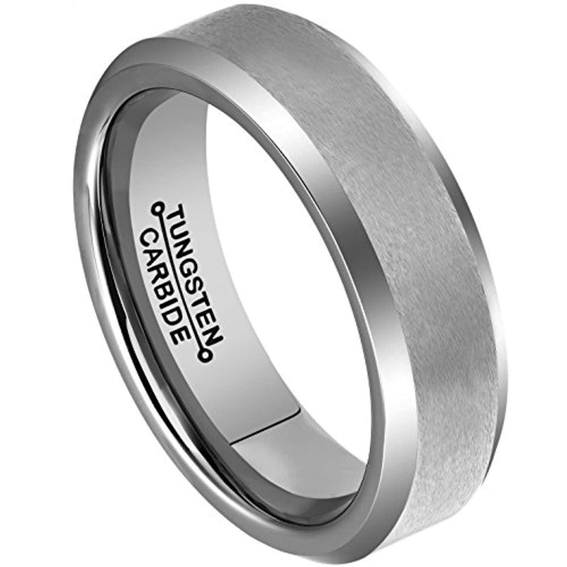 MNH Tungsten Rings for Men 6mm Wedding Engagement Band Matte Finish Beveled Polished Edge Comfort Fit