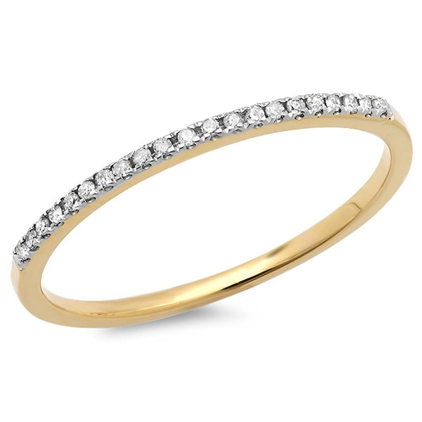 CERTIFIED 0.08 ctw 10k Gold Round White Diamond Ladies Dainty Anniversary Wedding Band Stackable Ring