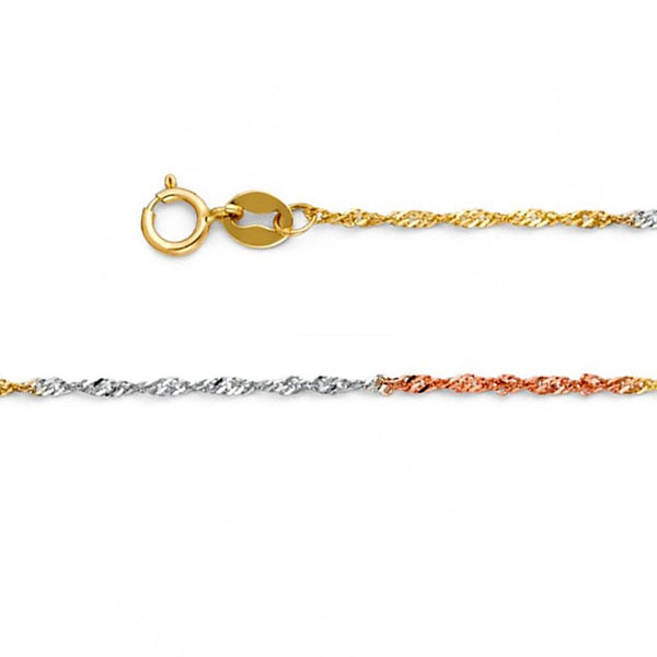 CERTIFIED American Set Co. 14k Solid Tri-Color Gold 1.2mm Singapore Chain Necklace with Spring Ring Clasp