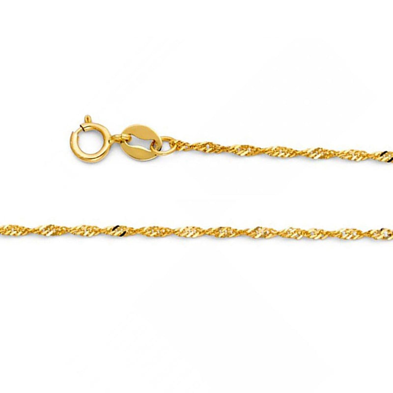 CERTIFIED American Set Co. 14k Solid Yellow Gold 1.2mm Singapore Chain Necklace with Spring Ring Clasp