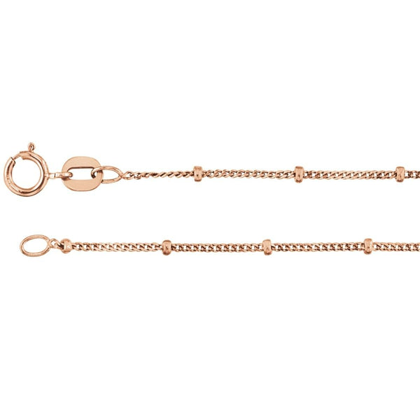 CERTIFIED 14K Rose Gold 1mm Solid Beaded Curb Chain