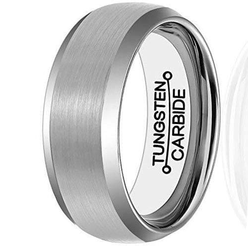 CERTIFIED 8mm Tungsten Carbide Brushed Center Matte Polished Edge