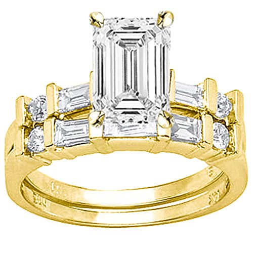 1.22 Carat t.w. GIA Certified Emerald Cut 14K White Gold Channel Set Baguette and Round Diamond Wedding Set (D-E Color VS1-VS2 Clarity)
