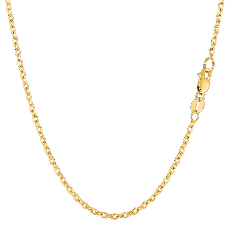 "14K Yellow or White Gold 1.8mm Shiny Diamond Cut Cable Link Chain Necklace for Pendants and Charms with Lobster-Claw Clasp (16"", 18"", 20"", 22"", 24, or 30 inch)"