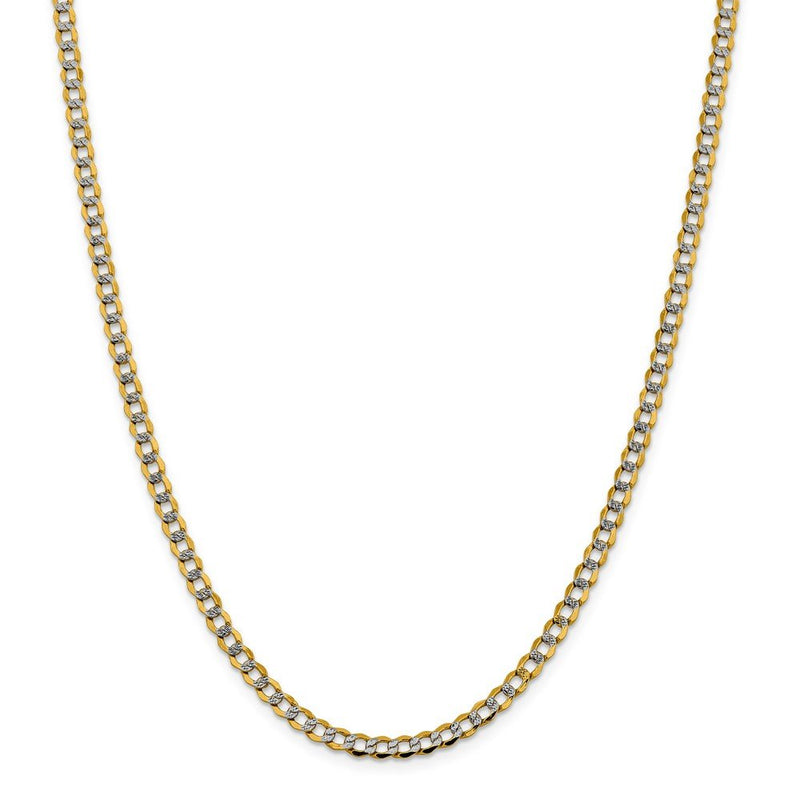 CERTIFIED 14k Yellow Gold 4.3mm Semi-solid Pave Curb Chain Necklace