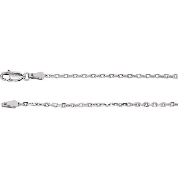 "14K White Gold 2mm Diamond-Cut Cable 18"" Chain"