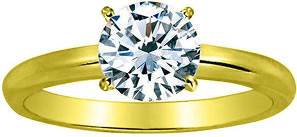 GIA Certified 1 Carat  14K White Gold Solitaire Round Cut Diamond Engagement Ring (1 Ct I-J Color, VVS2-VS1 Clarity)