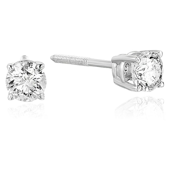 AGS Certified 1/2 cttw SI2-I1 Clarity Diamond Stud Earrings 14K White Gold I-J Color