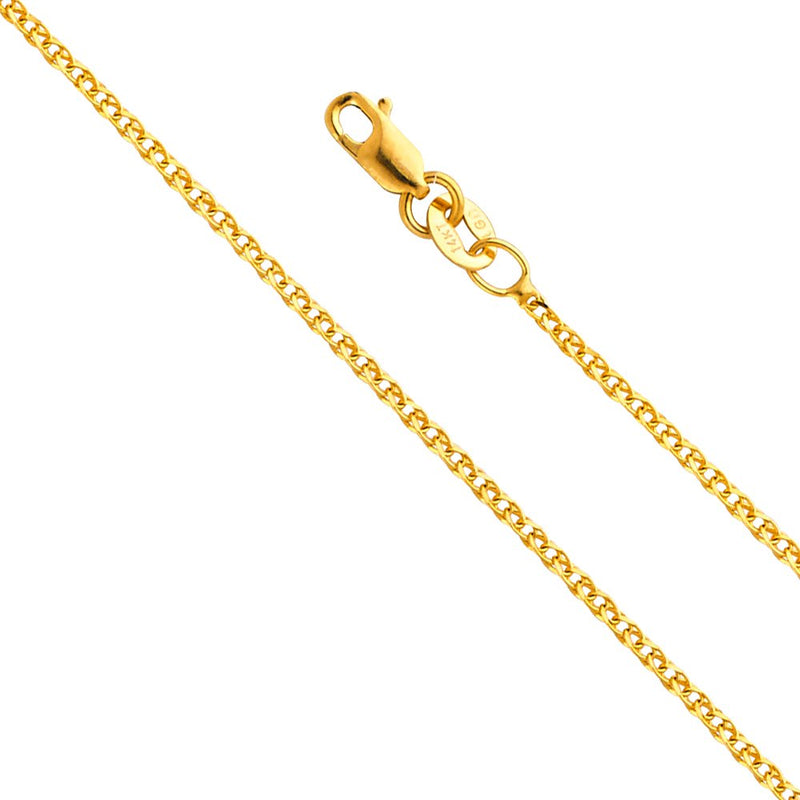 CERTIFIED TWJC 14k Yellow OR White Gold SOLID 1.5mm Flat Open wheat Chain Necklace with Lobster Claw Clasp