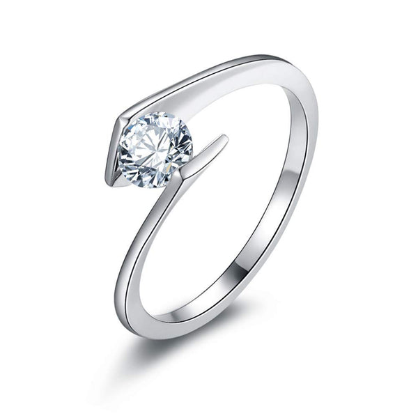 CERTIFIED 0.5ct Round Solitaire Brilliant Cubic Zirconia Sterling Silver 925 Wedding Ring