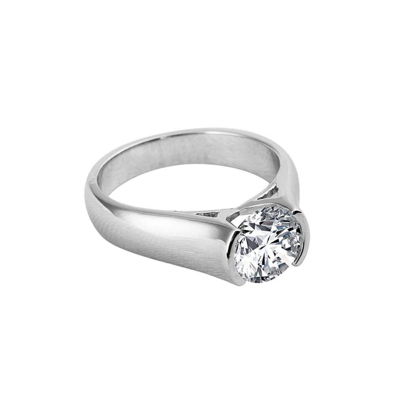 CERTIFIED 2 CT Solitaire Engagement Ring Brilliant Cubic Zirconia CZ Diamond Silver