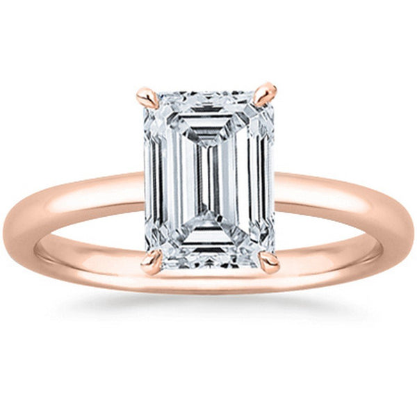 0.47 Ct GIA Certified Emerald Cut Solitaire Diamond Engagement Ring 14K White Gold (J Color VS1 Clarity)