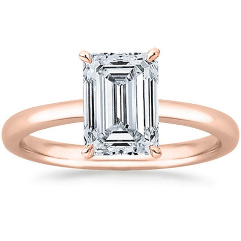 1/2 Ct GIA Certified Emerald Cut Solitaire Diamond Engagement Ring 14K White Gold (K Color VS2-SI1 Clarity)