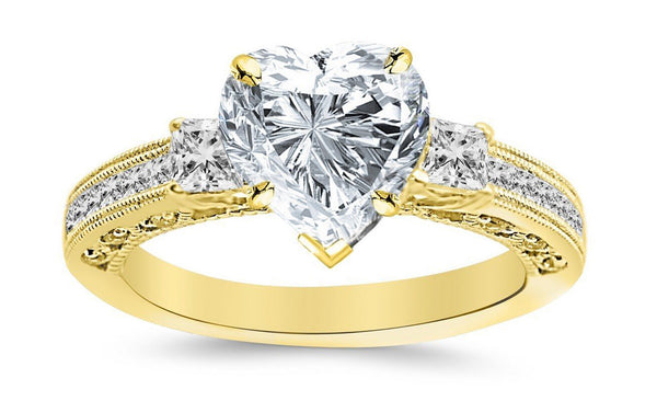 1.09 Ctw 14K White Gold Three 3 Stone Princess Cut Channel Set Heart Shape GIA Certified Diamond Engagement Ring (0.59 Ct J Color SI2 Clarity Center Stone)