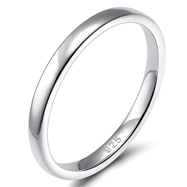 CERTIFIED 2mm 4mm 6mm 925 Sterling Silver Ring High Polish Plain Dome Wedding Band Comfort Fit